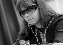 young poker player - annette obrestad - black and white photo