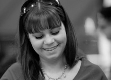black and white photo of annette obrestad - young poker pro