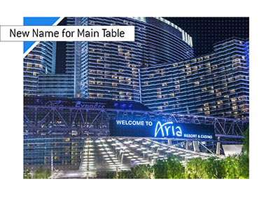 The main poker table at the Aria Casino has been renamed to Table 1.  The Year is 2019.