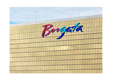 Borgata Hotel and Casino - Top of the building.  Focus is on the logo.