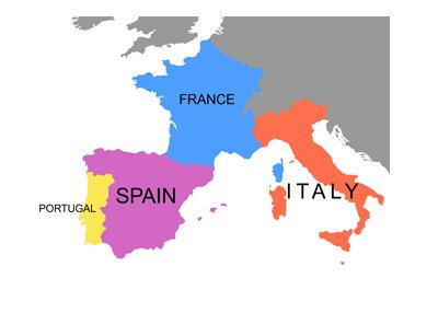 Italy, France, Spain and Portugal - Highlighted on the map of Europe.