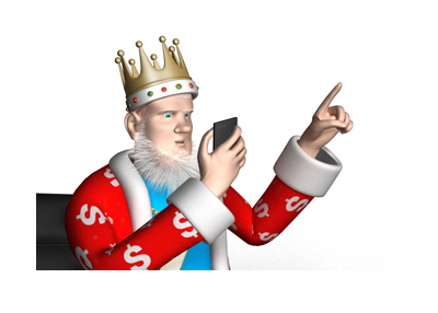 The King is looking at his mobile phone, pointing up.  What is the biggest ever online hand?