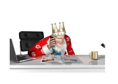 The King is on his mobile phone, while reading the morning papers.   The setting is his office.