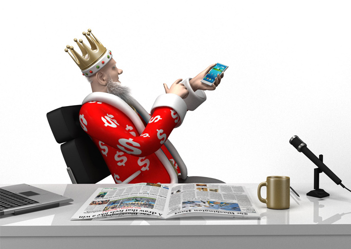 The King is pointing towards his Android phone. <br />  Bet365 is available.  Download it.