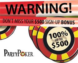 $500 bonus at partypoker - 100 matching bonus