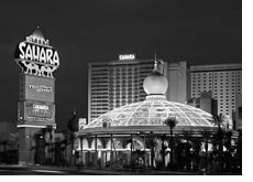 night shot of the sahara hotel and casino las vegas