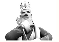 king in the thinking pose