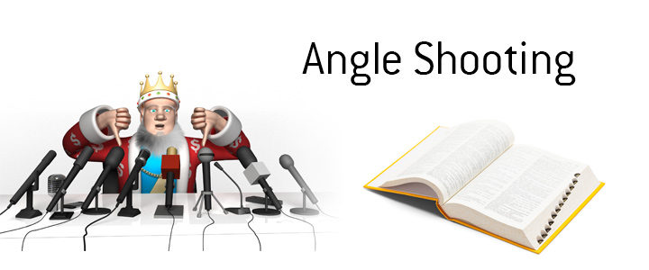 The King is giving thumbs down to the practice of Angle Shooting.  Defines the term and provides example. Do not do it!
